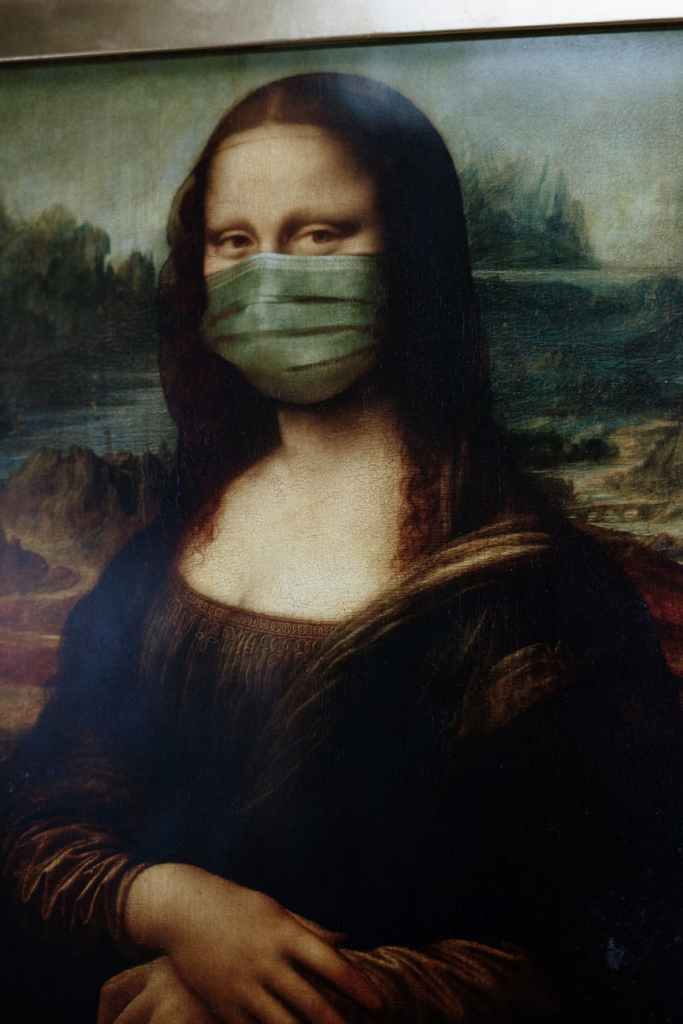 The Mona Lisa with face covering